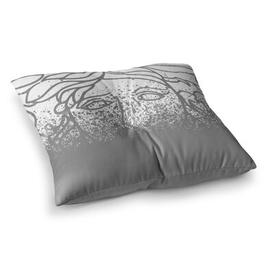 Just L Versus Spray Abstract Illustration Square Floor Pillow Size: 26 x 26, Color: Gray/White