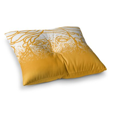 Just L Versus Spray Abstract Illustration Square Floor Pillow Size: 23 x 23, Color: Yellow/White