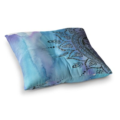 Li Zamperini Mandala Abstract Square Floor Pillow Size: 26 x 26, Color: Blue