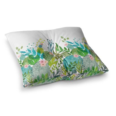Li Zamperini Cute Foliage Teal Square Floor Pillow Size: 26 x 26