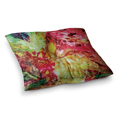 Mary Bateman Passion Flowers Square Floor Pillow Size: 26 x 26, Color: Yellow/Red