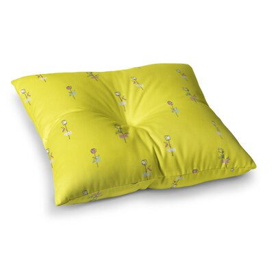 MaJoBV Rosewall Floral Pattern Square Floor Pillow Size: 26 x 26, Color: Yellow