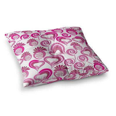 Maria Bazarova Sweet Love 2 Square Floor Pillow Size: 26 x 26, Color: Pink/White