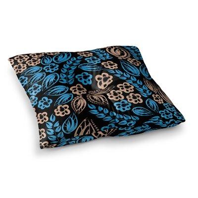 Maria Bazarova Flowers Floral Square Floor Pillow Size: 26 x 26, Color: Blue/Black