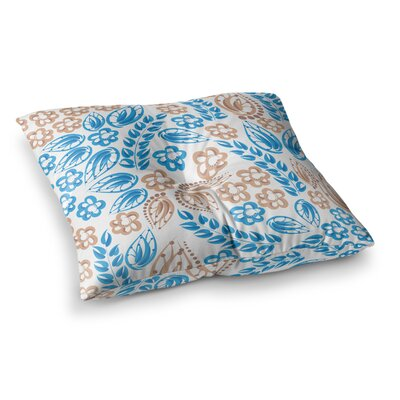 Maria Bazarova Flowers Floral Square Floor Pillow Size: 26 x 26, Color: Blue/White