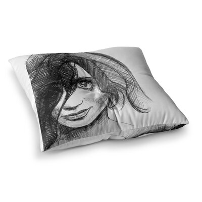 Maria Bazarova Self Portrait Square Floor Pillow Size: 26 x 26