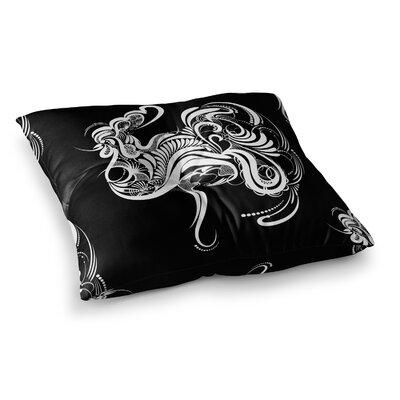 Maria Bazarova Cockerel Illustration Square Floor Pillow Size: 26 x 26