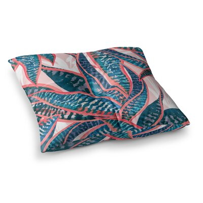 Mmartabc Succulent Pattern Leaves Illustration Square Throw Pillow Size: 26 x 26