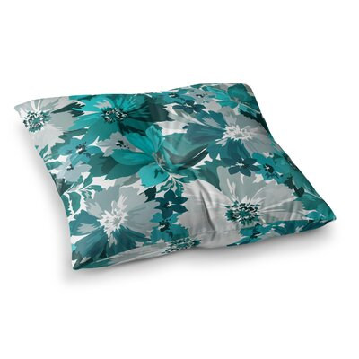 Mmartabc Turquoise Blossoms Illustration Square Throw Pillow Size: 26 x 26