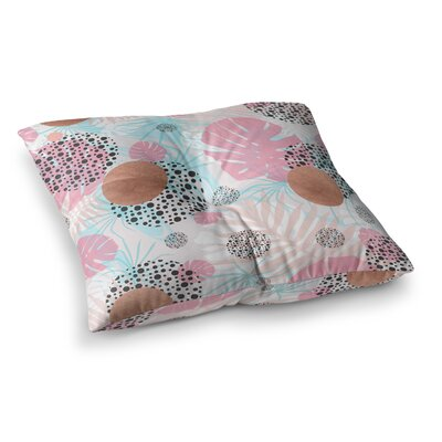 Mmartabc Abstract Monstera and Digital Square Throw Pillow Size: 23 x 23