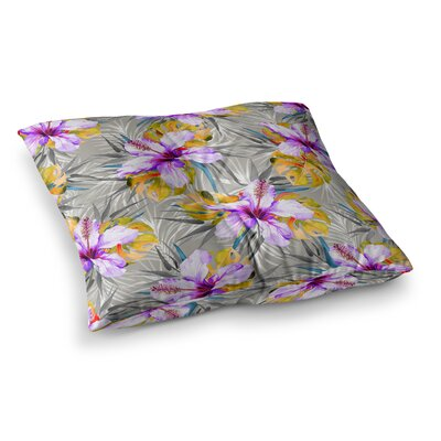 Mmartabc Tropical Flowery Illustration Square Throw Pillow Size: 26 x 26