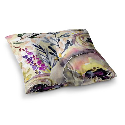 Mmartabc Watercolor Flowers and Leaves Illustration Square Throw Pillow Size: 23 x 23