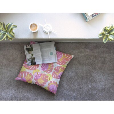 Mmartabc Monstera with Tropical Banana Illustration Square Throw Pillow Size: 26 x 26