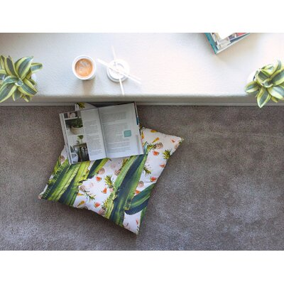 Mmartabc Cactus Among Tropical Pattern Photography Square Throw Pillow Size: 23 x 23