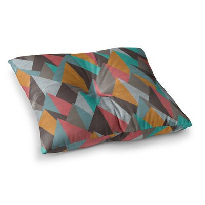 Michelle Drew Mountain Peaks Square Floor Pillow Size: 26 x 26, Color: Orange/Teal