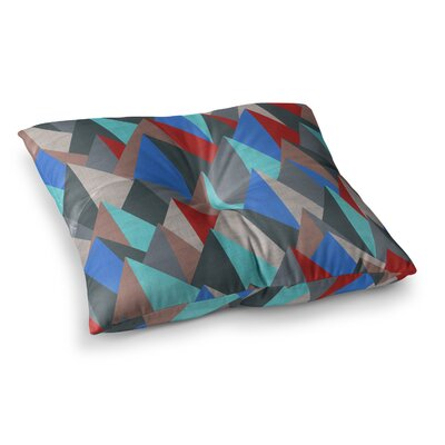 Michelle Drew Mountain Peaks Square Floor Pillow Size: 23 x 23, Color: Blue/Red