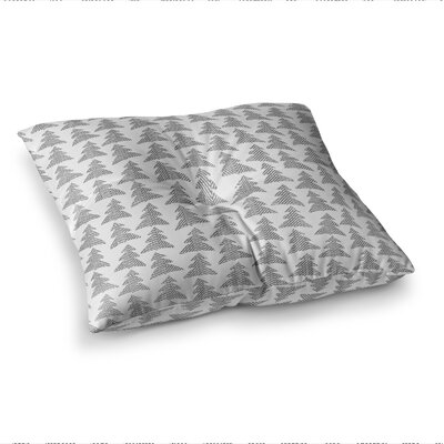 Michelle Drew Herringbone Forest Black Square Floor Pillow Size: 26 x 26, Color: Black/Gray/White