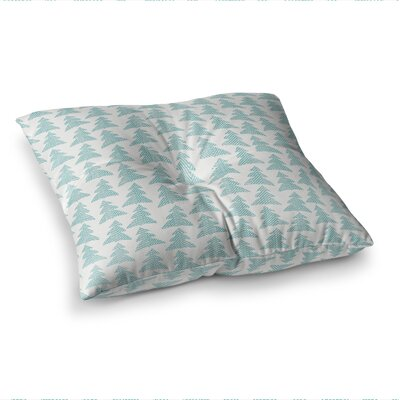 Michelle Drew Herringbone Forest Black Square Floor Pillow Size: 23 x 23, Color: Teal/Blue