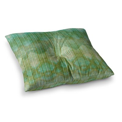 Michelle Drew Vintage Ikat Square Floor Pillow Size: 26 x 26, Color: Green/Gold