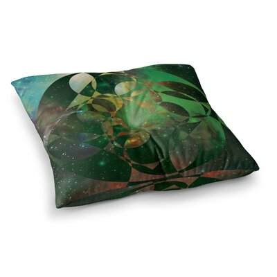 Matt Eklund Galactic Brilliance Geometric Square Floor Pillow Size: 23 x 23, Color: Green