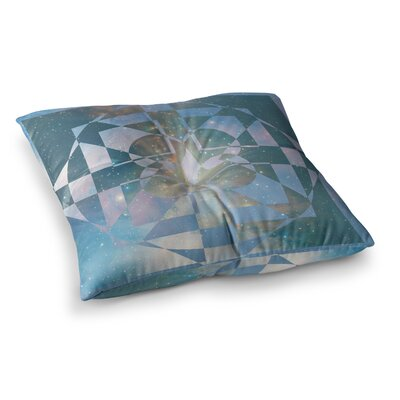 Matt Eklund Galactic Hope Square Floor Pillow Size: 26 x 26, Color: Aqua/Blue