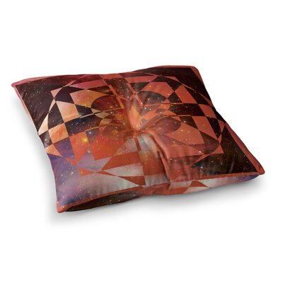 Matt Eklund Galactic Hope Square Floor Pillow Size: 26 x 26, Color: Red/Orange