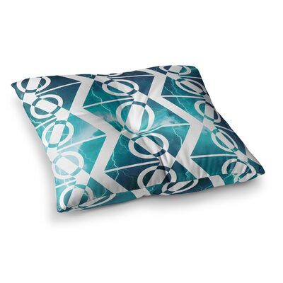 Matt Eklund Storm Square Floor Pillow Size: 23 x 23, Color: Teal/White