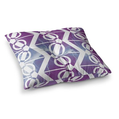 Matt Eklund Storm Square Floor Pillow Size: 23 x 23, Color: Purple/White
