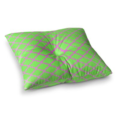 Matt Eklund Culture Shock Square Floor Pillow Size: 26 x 26, Color: Green/Pink
