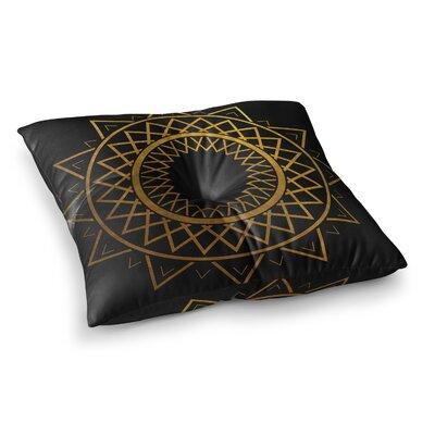 Matt Eklund Lunar Sundial Geometric Square Floor Pillow Color: Yellow, Size: 26 x 26