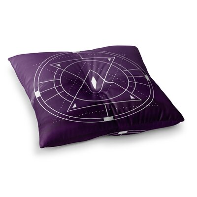 Matt Eklund Lost City Geometric Square Floor Pillow Size: 23 x 23, Color: Purple/White