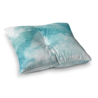 Matt Eklund Skyward Square Floor Pillow Size: 26 x 26, Color: Blue/White