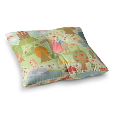 Petit Griffin Fairy Tale Fantasy Illustration Square Floor Pillow Size: 26 x 26