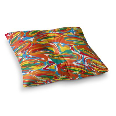 Matthias Hennig Go Left Crazy Square Floor Pillow Size: 23 x 23, Color: Yellow/Red/Blue