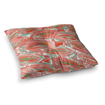 Matthias Hennig Go Left Crazy Square Floor Pillow Size: 26 x 26, Color: Red/Blue/Teal