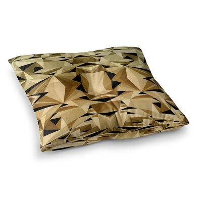 Nika Martinez Abstraction Square Floor Pillow Size: 26 x 26, Color: Black/Gold