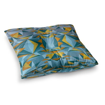 Nika Martinez Abstraction Square Floor Pillow Size: 26 x 26, Color: Blue/Gold