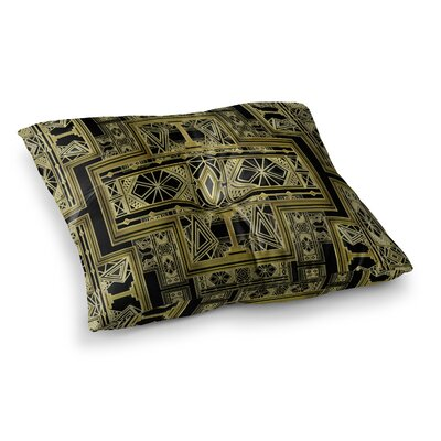 Nika Martinez Art Deco Square Floor Pillow Size: 26 x 26, Color: Black/Gold