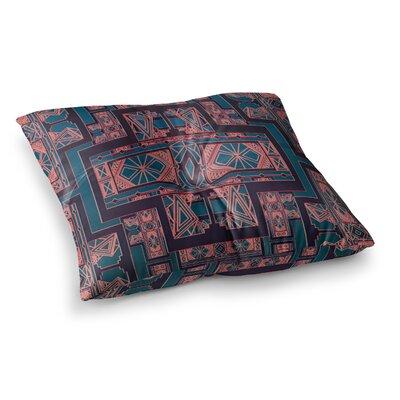 Nika Martinez Art Deco Square Floor Pillow Size: 26 x 26, Color: Blue/Coral