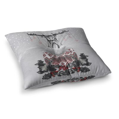 Nika Martinez Christmas Deer Snow Square Floor Pillow Size: 26 x 26