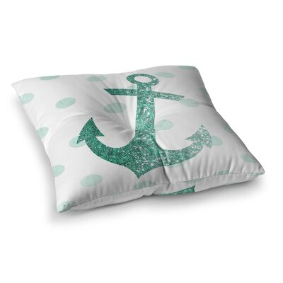 Nika Martinez Glitter Anchor Square Floor Pillow Color: Teal, Size: 23 x 23