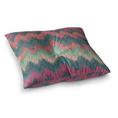 Nika Martinez Ikat Chevron II Square Floor Pillow Size: 26 x 26, Color: Blue/Red