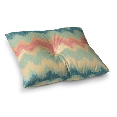 Nika Martinez Ikat Chevron II Square Floor Pillow Size: 23 x 23, Color: Teal