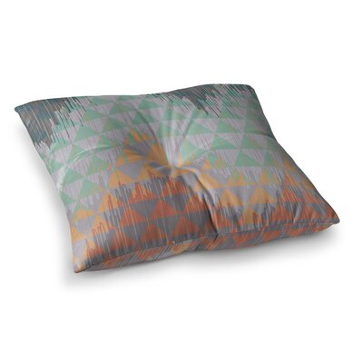 Nika Martinez Ikat Geometrie Square Floor Pillow Size: 23 x 23, Color: Green/Pink