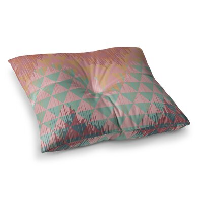 Nika Martinez Ikat Geometrie Square Floor Pillow Size: 26 x 26, Color: Green/Orange