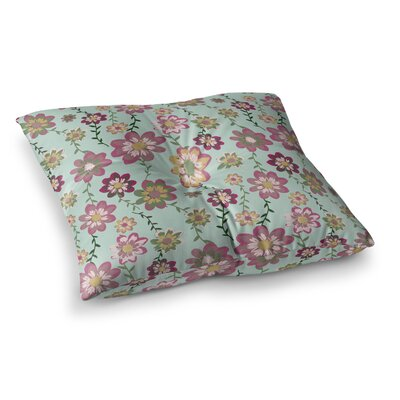 Nika Martinez Romantic Floral Square Floor Pillow Size: 26 x 26, Color: Pink/Teal