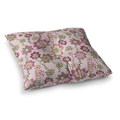 Nika Martinez Romantic Floral Square Floor Pillow Size: 26 x 26, Color: Blush/Pink