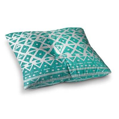 Nika Martinez Aquamarine Tribal Square Floor Pillow Size: 26 x 26