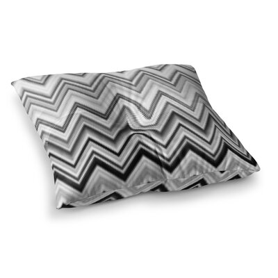Nika Martinez Seventies Chevron Square Floor Pillow Size: 26 x 26, Color: Black/White
