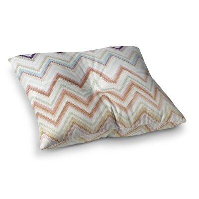 Nika Martinez Seventies Chevron Square Floor Pillow Size: 23 x 23, Color: Beige